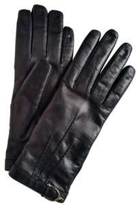 Gucci *New with Tags* Women's Black Leather Spur Detail Glove
