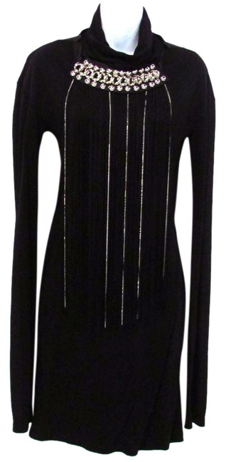 Item - Black W Mock Neck Sheath Attached Necklace Knee Length Night Out Dress Size 6 (S)