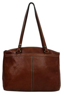 Patricia Nash Designs Italian Leather Contrast Stitching Leather Veg Tan Satchel in Brown