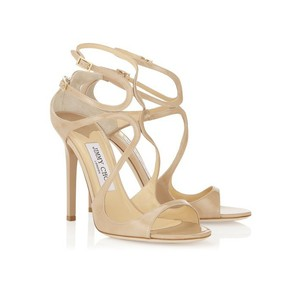 Jimmy Choo Strappy Patent Leather Open Toe Nude Sandals