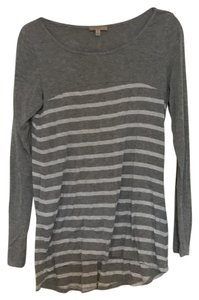 Bordeaux Casual Striped Anthropologie T Shirt Grey