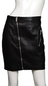 Saint Laurent Ysl Leather Mini Leather Mini Skirt Black