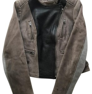 Yigal Azrouël Taupe, Black, Grey Leather Jacket