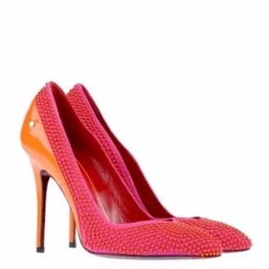 Cesare Paciotti Stiletto Designer Pink Suede Leather Patent Leather Pumps