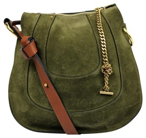 Chloé Leather Olive Suede Gold Hardware Shoulder Bag
