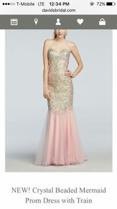Terani Couture Pink Crystal Mermaid Dress With Train Dress