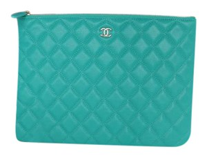 Chanel Medium 2016/17 Caviar Turquoise Clutch