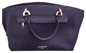 Zac Posen Leather Satchel in Navy Blue