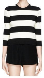 Theory And Stripes Cropped 3/4 Sleeve Sweater