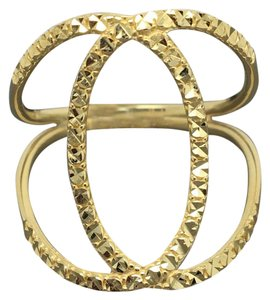 Other 14K Solid Yellow Gold Diamond Cut X Design Crisscross Ring