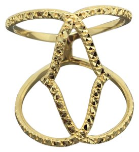 Other 14K Solid Yellow Gold Diamond Cut Wide Ring