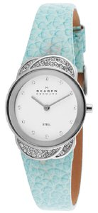 Skagen Denmark 818SSLI White Dial Blue Calfskin Leather Women's Watch