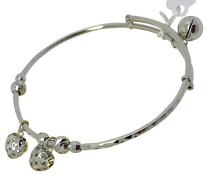 18K White Gold Diamond Cut Adjustable Child Bangle