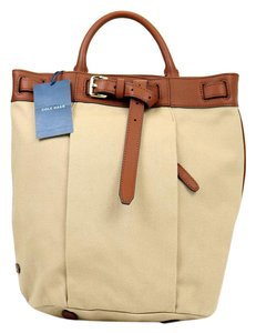 Cole Haan Buckle Brown Leather Canvas Top Handle Adjustable Straps Backpack