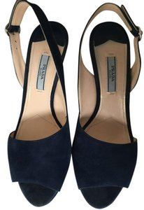 Prada Sandal Suede Blue Pumps