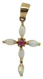 Other 14K Yellow Gold Natural Opal cross Pendant