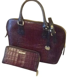 Brahmin Tote in Maroon/Black