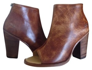 Bed|Stü Open Toe Heeled Leather Tan Rustic Boots