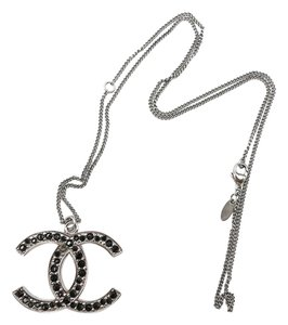 Chanel Chanel Black CC Crystal Large Pendant Necklace