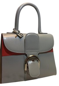 Delvaux Satchel in grey and bright orange