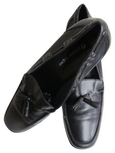 Etienne Aigner Leather Tassels Black Flats