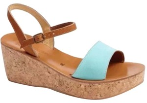 K. Jacques wedge sandals turquoise and brown Wedges