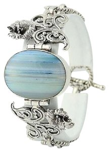 Chunky Banded Agate Flower Bracelet - Sterling Silver Toggle Clasp Floral 7.5