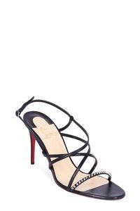 Christian Louboutin Gwinee 85 Black/ Spike Black Patent Sandals