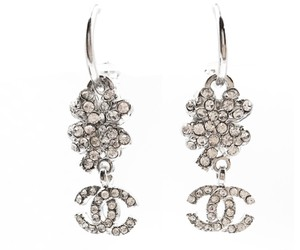 Chanel Chanel Silver Camellia CC Rhinestone Hoop Piercing Earrings