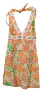 Lilly Pulitzer short dress Floral Beaded Halter, Pineapple What a Wonderful World Print on Tradesy