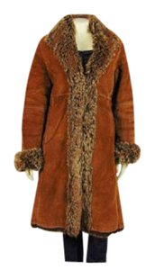 Marvin Richards Suede Leather Fur Boho Bohemian Trench Coat