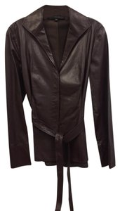 Lafayette 148 New York Leather Belted Unlined Soft wine Leather Jacket