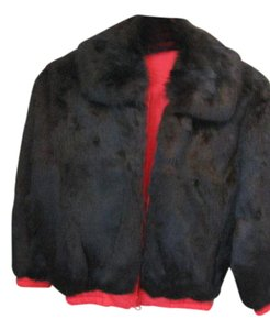 Princess Caravelle Vintage Red/Brown Rabbit Fur Jacket