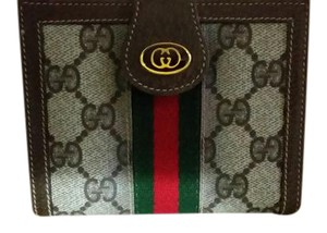 Gucci Classic Vintage Gucci Brown Wallet with Stripes