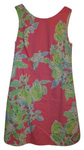 Lilly Pulitzer short dress Hot Pink Embroidered Floral Shift Womens on Tradesy