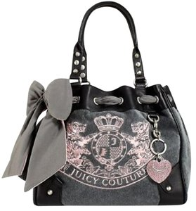 Juicy Couture Velour Studded Satchel in gray