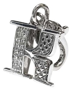 """Judith Ripka Beautiful Letter """"K"""" Charm Sterling Silver & Crystals"""