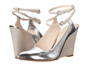 Coach Leather Metallic Silver Wedges