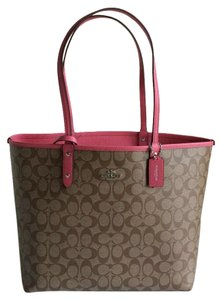 Coach Signature Monogram Reversible Canvas Tote in Khaki & Strawberry Pink