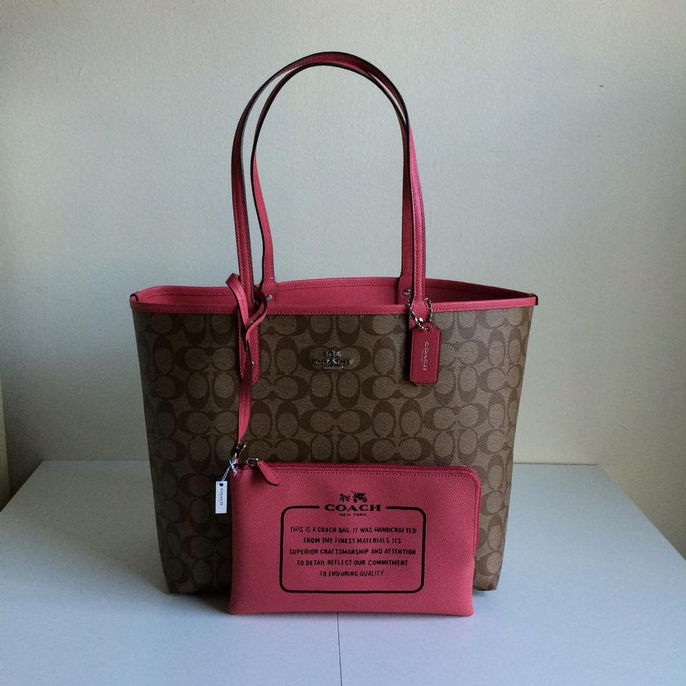 Coach Signature Monogram Reversible Canvas Tote in Khaki   Strawberry Pink  Image 6. 1234567 6348556c24a21