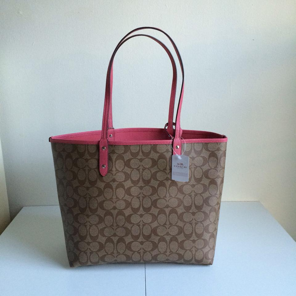Coach City F36658 Signature Reversible Khaki   Strawberry Pink Coated  Canvas Tote - Tradesy 9bfa6f74b6885