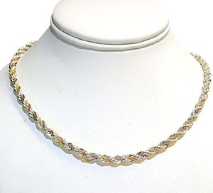 Tiffany & Co. Beautiful Vintage Sterling Silver & Gold Heavy Rope Necklace 23