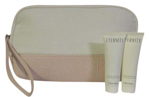 Calvin Klein Zipper Cosmetic Bag w/ Eternity Shower Gel and Body Lotion