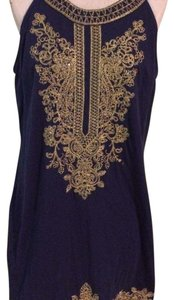 INC International Concepts short dress navy blue with gold on Tradesy