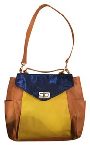 Gianni Bini Color-blocking Faux Leather Patent Leather Shoulder Bag