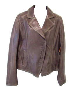 Elie Tahari Lamb Leather Dark Taupe Leather Jacket