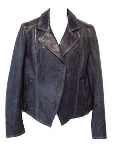 Elie Tahari Lamb Leather Asymmetrical Hem Leather Jacket