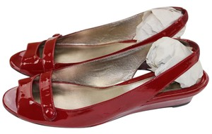 Cole Haan Peep Toe Red Patent Leather Sandals
