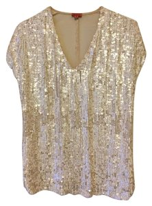 Chan Luu Sequin Embellished Metallic Sheer Limited Edition Top White