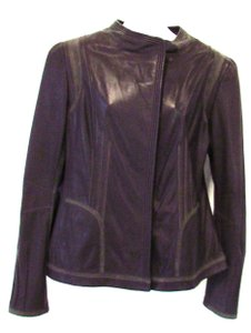 Elie Tahari 100% Leather Brown Leather Jacket